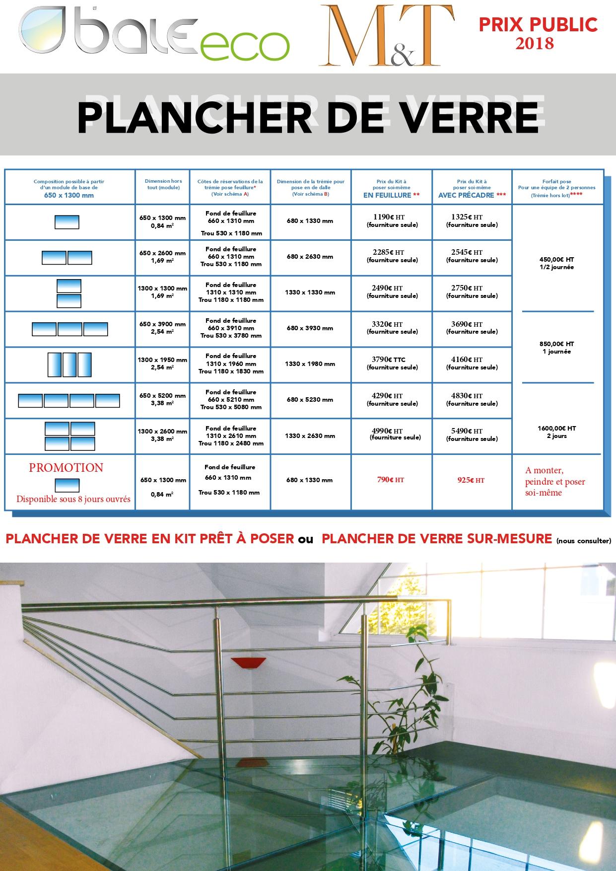Tarif Vitrage Saint Gobain baieeco - kits planchers de verre